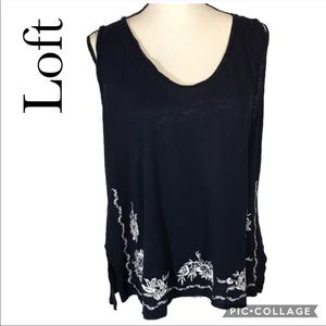 Ann Taylor LOFT linen blend embroidered navy tank